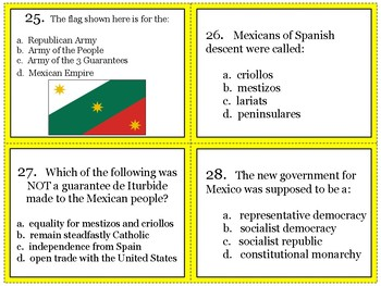 Mexican War of Independence Task Cards