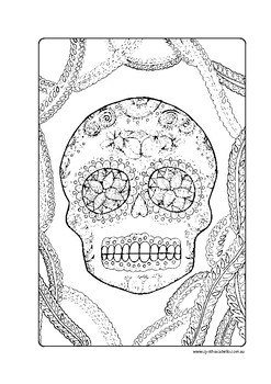 Mexican day of the Dead Sugar skull coloring page