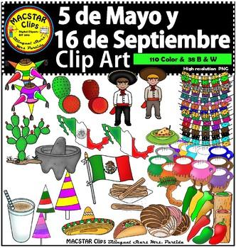 Mexico  5 de Mayo -  16 de Septiembre Clip Arts Bilingual