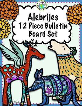 Mexico Alebrije & Marigolds 12 Piece Bulletin Board Set