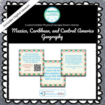 Mexico & Central America Geography Customizable Escape Room / Breakout Game