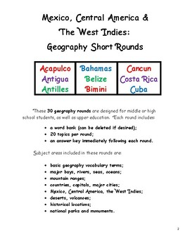 Mexico, Central America & The West Indies Geography Short Rounds