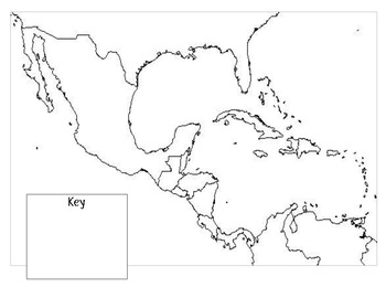 Mexico, Central America, & the Caribbean Physical Map directions & outline map