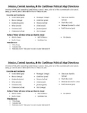 Mexico, Central America, & the Caribbean Political Map directions & outline map