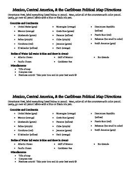 Mexico, Central America, & the Caribbean Political Map dir