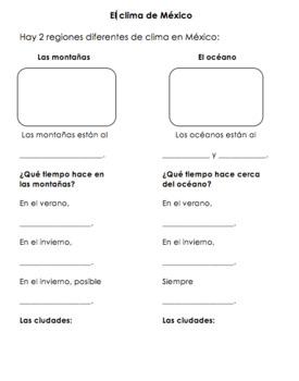 Mexico Climate & Weather Worksheet | La clima de México