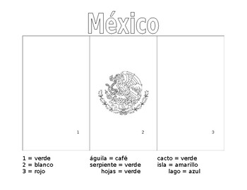 Mexico Flag Coloring Page With Spanish Directions And