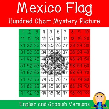 Mexico Flag (Mexican) Hundred Chart Mystery Picture with Number Cards