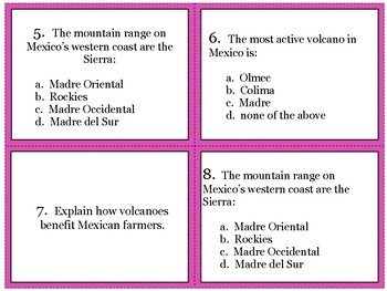 Mexico Geography Task Cards
