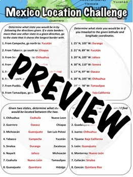 Mexico Location Worksheet