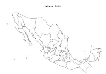 mexico map states black white by mrfitz teachers pay teachers. Black Bedroom Furniture Sets. Home Design Ideas