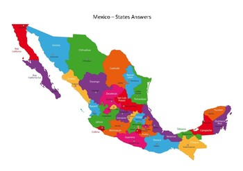 Mexico Map States Black White By Mrfitz Teachers Pay Teachers
