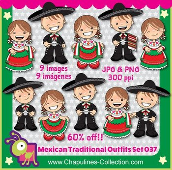 Mexico - Outfits Clipart China Poblana and Charro Kids 037