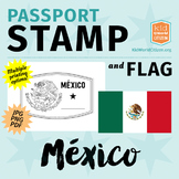 Mexico Passport Stamp & Flag, Poster & Clip Art for Around