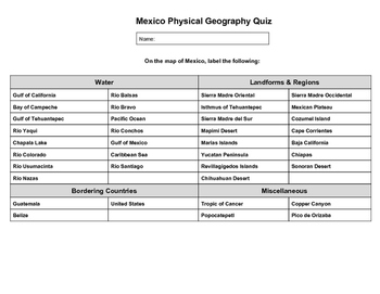 Mexico Physical Geography Quiz