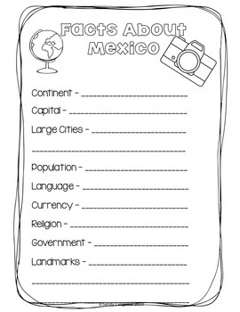 MEXICO: Research Booklet Including Cultural Activities