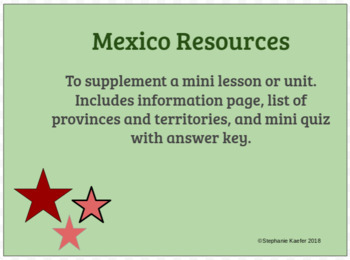 Mexico- List, Notes, and Short Quiz