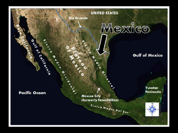Mexico Satellite Map Physical Geography PowerPoint Introduction