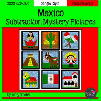 Mexico Subtraction Mystery Pictures (Cinco de Mayo)