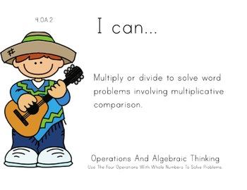 Mexico Theme 4th grade math Common Core Posters fourth Grade Standards