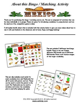 Mexico Themed Bingo / Matching Activities