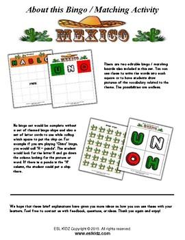 Mexico Themed Bingo / Matching Activities