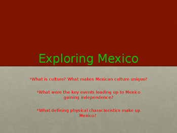 Mexico Unit-Content Literacy Text Set - PPT