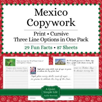 Mexico Unit - Copywork - Print - Handwriting