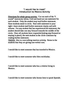 Mexico Unit Introduction Activity