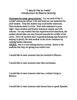 Mexico Unit Introduction Activity