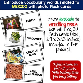 Mexico - Country Symbols: 5 Different Word puzzles and 30 Photo Flash Cards
