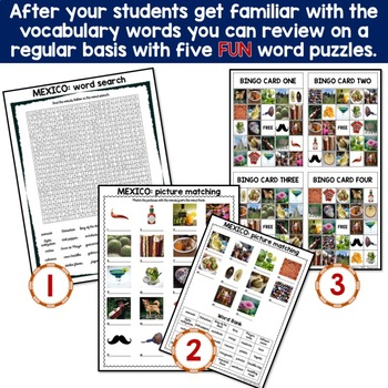 Mexico 5 Word Puzzles and 30 Photo Flash Cards BUNDLE