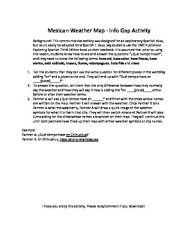 The weather in Spanish: Mexico Map Communicative Activity