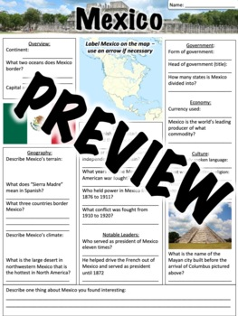 Mexico Worksheet