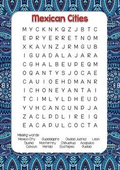 Mexico cities word search