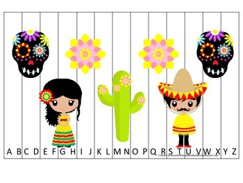 Mexico themed Alphabet Sequence Puzzle preschool learning game.  Daycare.