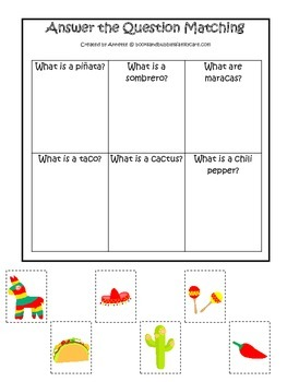Mexico themed Answer the Question preschool learning game.