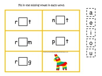 Mexico themed CVC #4 preschool learning game.  Daycare Vowels.