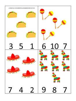 Mexico themed Count and Clip preschool learning game.  Daycare Business.
