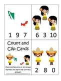 Mexico themed Count and Clip preschool learning game.  Day