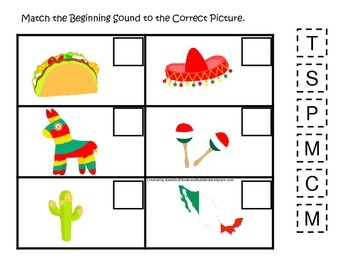 Mexico themed Match the Beginning Sound preschool learning game.  Daycare.