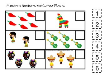 Mexico themed Match the Number preschool printable.  Homeschool daycare.