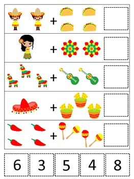 Mexico themed Math Addition preschool learning game.  Daycare early math.