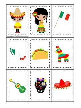 Mexico themed Memory Matching preschool learning game.  Daycare.