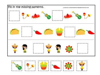 Mexico themed Missing Pattern preschool learning game.  Daycare early math.