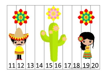 Mexico themed Number Sequence Puzzle 11-20 preschool learning game.  Daycare.