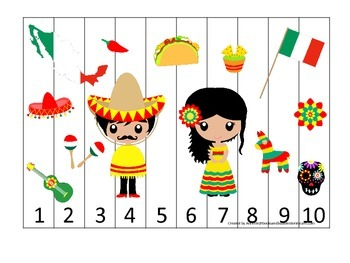 Mexico themed Number Sequence Puzzle preschool learning game.  Daycare.