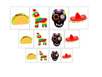 Mexico themed Picture Size Sorting preschool learning game.  Daycare learning..
