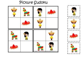 Mexico themed Picture Sudoku preschool learning game.  Day