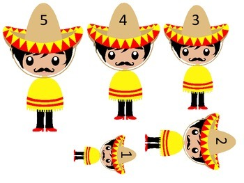Mexico themed Size Sequence preschool learning games. Dayc